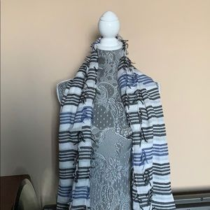 Beautiful Blue and black striped scarf